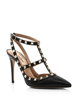 Valentino Garavani - Women's Rockstud Leather T-Strap High-Heel Pumps