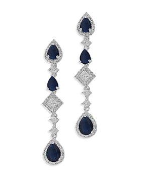 Bloomingdale's - Blue Sapphire & Diamond Linear Drop Earrings in 14k White Gold - 100% Exclusive
