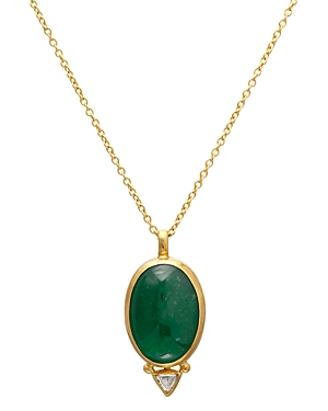 Gurhan 24K/22K/18K Yellow Gold Emerald and Diamond Pendant Necklace, 16-18