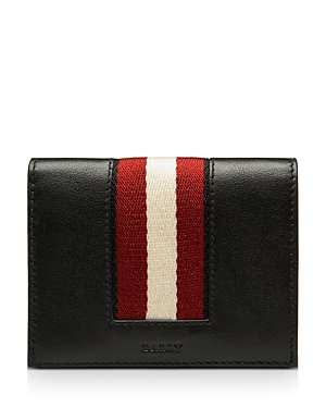 Bally Babie Stripe Leather Bi Fold Card Case-Men