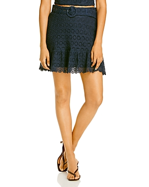 Aqua Belted Lace Skirt - 100% Exclusive-Women