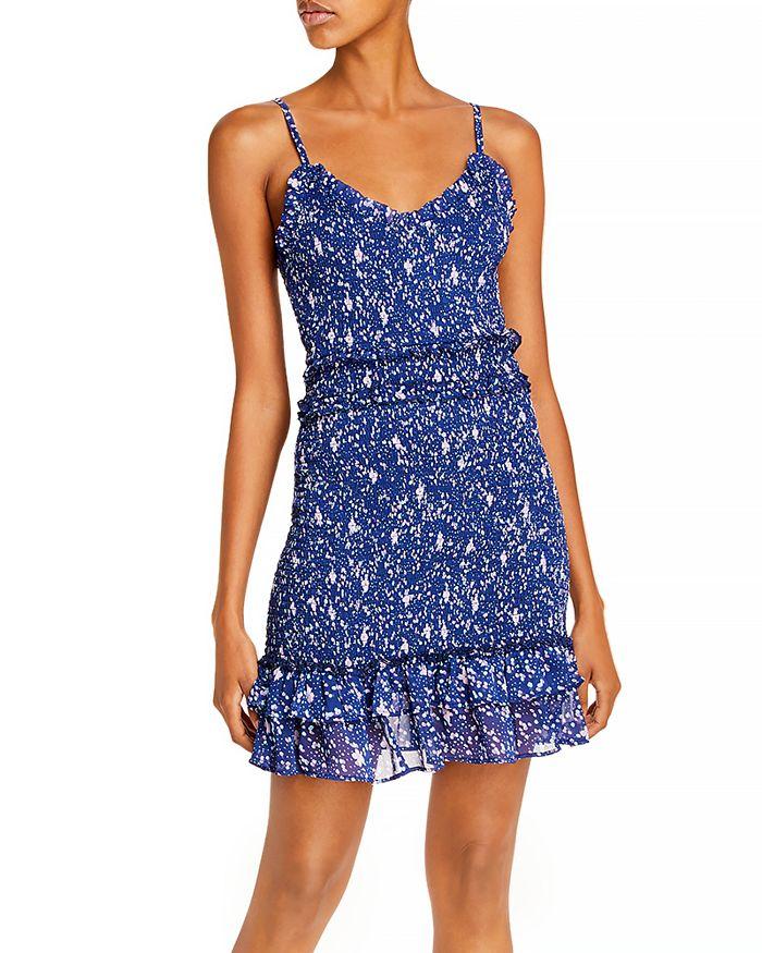AQUA - Abstract Dot Smocked Mini Dress - 100% Exclusive