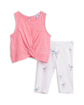 Splendid - Girls' Knotted Top & Flamingo Print Leggings Set - Baby