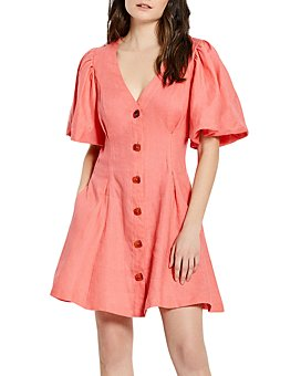 Nicholas - Linda Linen Lantern Sleeve Dress