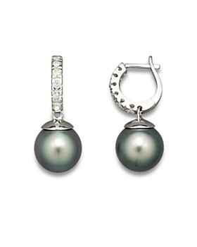 Bloomingdale's - Bloomingdale's  Diamond Hoop Earrings with Tahitian Pearls, 9mm - 100% Exclusive