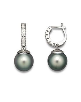 Bloomingdale's - Bloomingdale's  Diamond Hoop Earrings with Tahitian Pearls, 9mm- 100% Exclusive