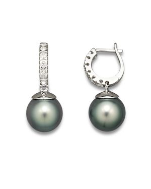Diamond Hoop Earrings with Tahitian Pearls, 9mm
