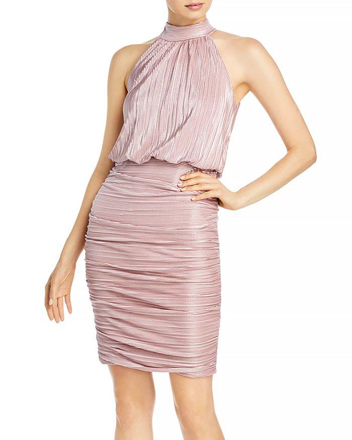 AQUA - Ruched High Neck Dress - 100% Exclusive