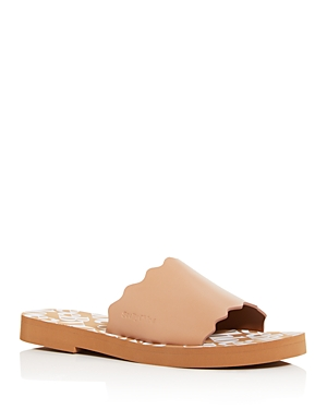 See By Chloé SEE BY CHLOE WOMEN'S ESSIE SCALLOPED SLIDE SANDALS