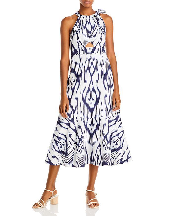 Rebecca Taylor - Ikat Print Keyhole Cutout Midi Dress