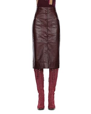 Alberta Ferretti Button Front Leather Midi Skirt-Women