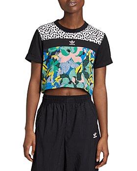 Adidas - Mixed Printed Cropped Logo Tee