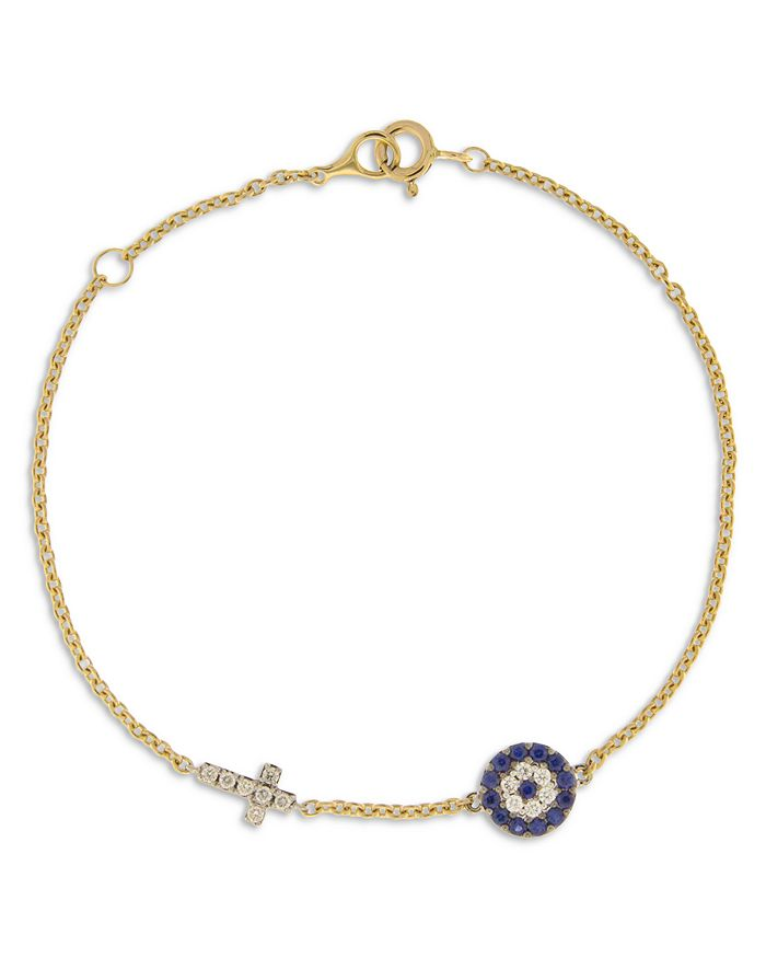 Bloomingdale's - Blue Sapphire & Diamond Evil Eye & Cross Link Bracelet in 14K Yellow Gold - 100% Exclusive