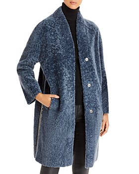 Maximilian Furs - Side Striped Shearling Coat
