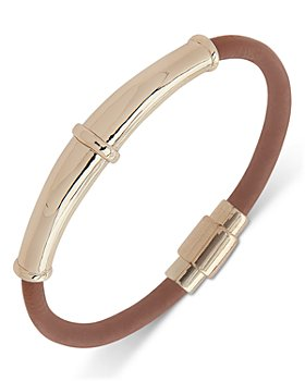 Ralph Lauren - Gold Tone & Leather Bangle Bracelet
