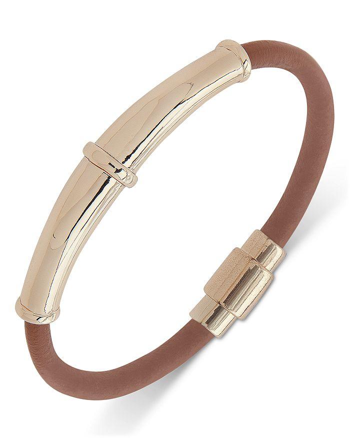 Ralph Lauren - Gold Tone & Leather Bangle Bracelet