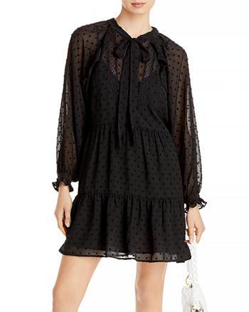 AQUA - Ruffled Clip Dot Mini Dress - 100% Exclusive