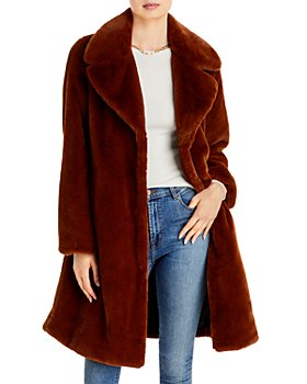 AQUA - Wide-Lapel Faux-Fur Coat - 100% Exclusive