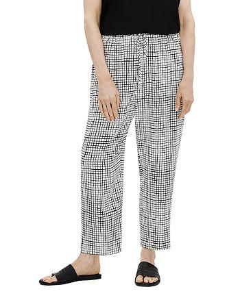 Eileen Fisher - Grid Print Slouchy Crop Pants
