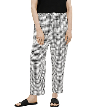 EILEEN FISHER GRID PRINT SLOUCHY CROP PANTS
