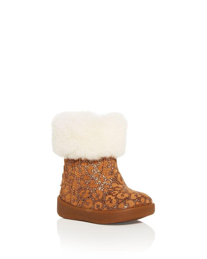 UGG® - Girls' Jorie II Glitter Leopard Print Shearling Booties - Baby