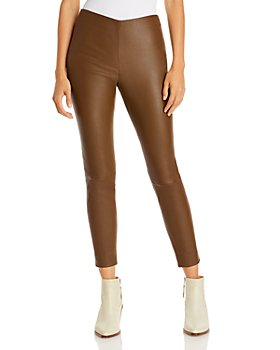Vince - Leather Cropped Pull On Pants