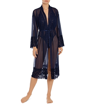 In Bloom by Jonquil Lace Trim Mesh Wrap Robe-Women