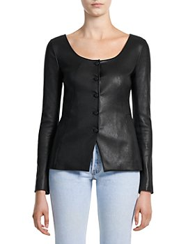 Theory - Scoop Neck Bristol Leather Jacket
