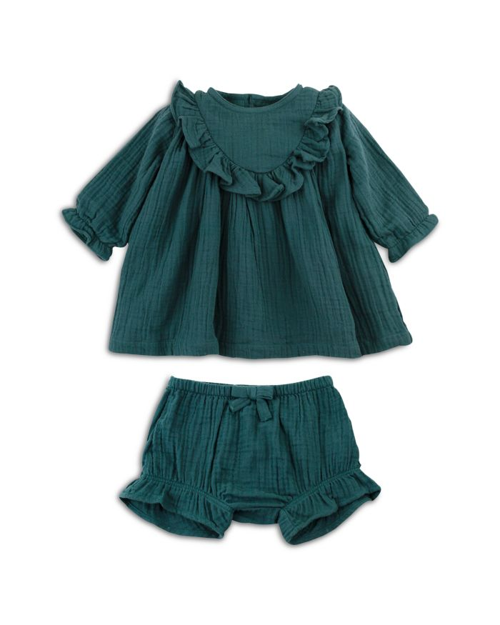 Oliver & Rain Girls' Ruffled Crinkle Gauze Organic Cotton Dress - Baby    Bloomingdale's
