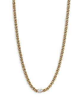 "Nadri - Wrap Party Cubic Zirconia Curb Chain Strand Necklace, 14""-17"""