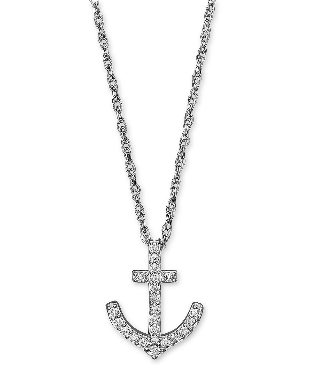 Diamond anchor pendant necklace in 14k white gold 25 ct tw pdpimgshortdescription aloadofball Images