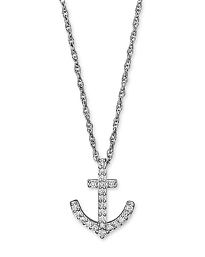 Diamond Anchor Pendant Necklace in 14K White Gold, .25 ct. t.w. - 100% Exclusive