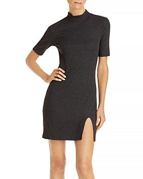 AQUA - Ribbed Bodycon Mini Dress - 100% Exclusive