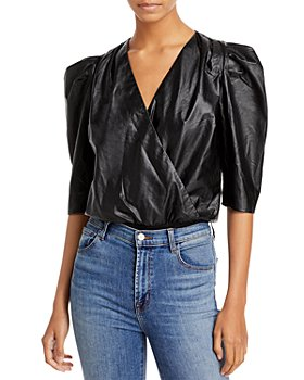 Lucy Paris - Puff Sleeve Faux Leather Bodysuit