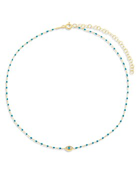 "Adinas Jewels - Pavé Evil Eye Green Beaded Choker Necklace, 13.5""-16.5"""