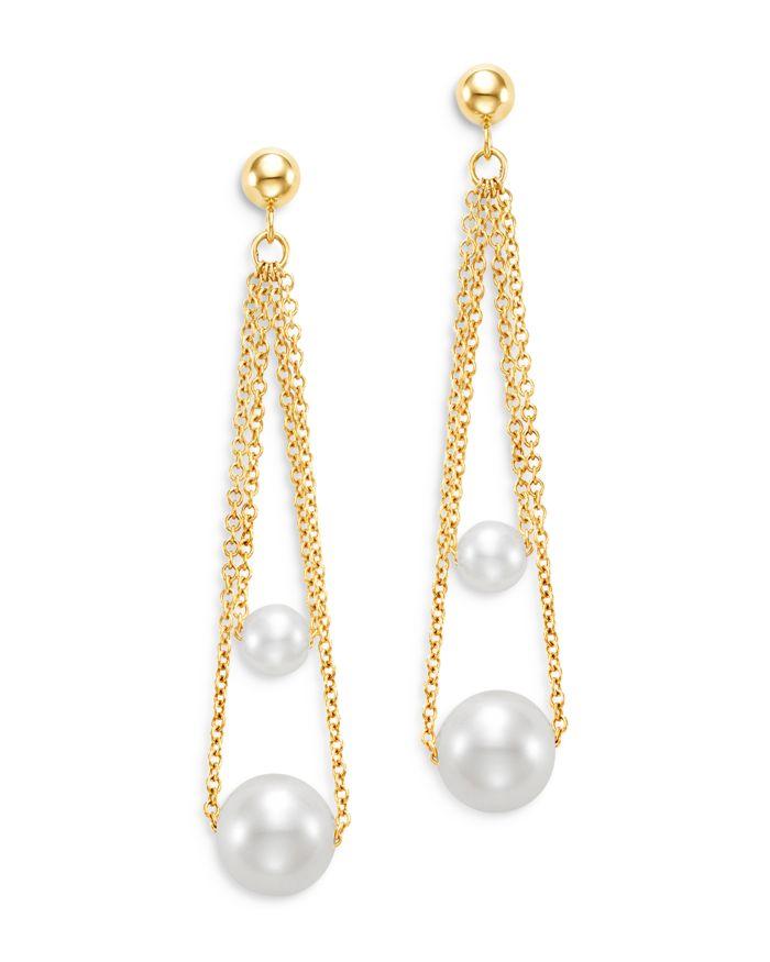 Bloomingdale's Cultured Freshwater Pearl Double Chain Drop Earrings in 14K Yellow Gold - 100% Exclusive    Bloomingdale's