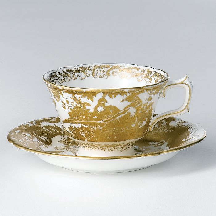 "Royal Crown Derby - ""Gold Aves"" Tea Saucer"
