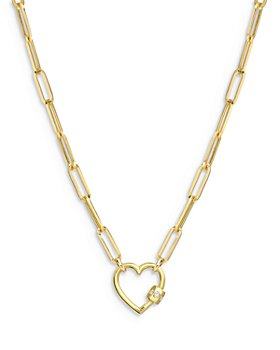 """Zoe Lev - 14K Yellow Gold Large Paper Clip Chain with Heart Carabiner, 16"""""""