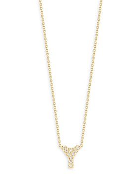 """Roberto Coin - 18K Yellow Gold Tiny Treasure Diamond Initial Y Love Letter Pendant Necklace, 16-18"""""""