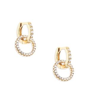 Aqua Crystal Double Link Hoop Earrings