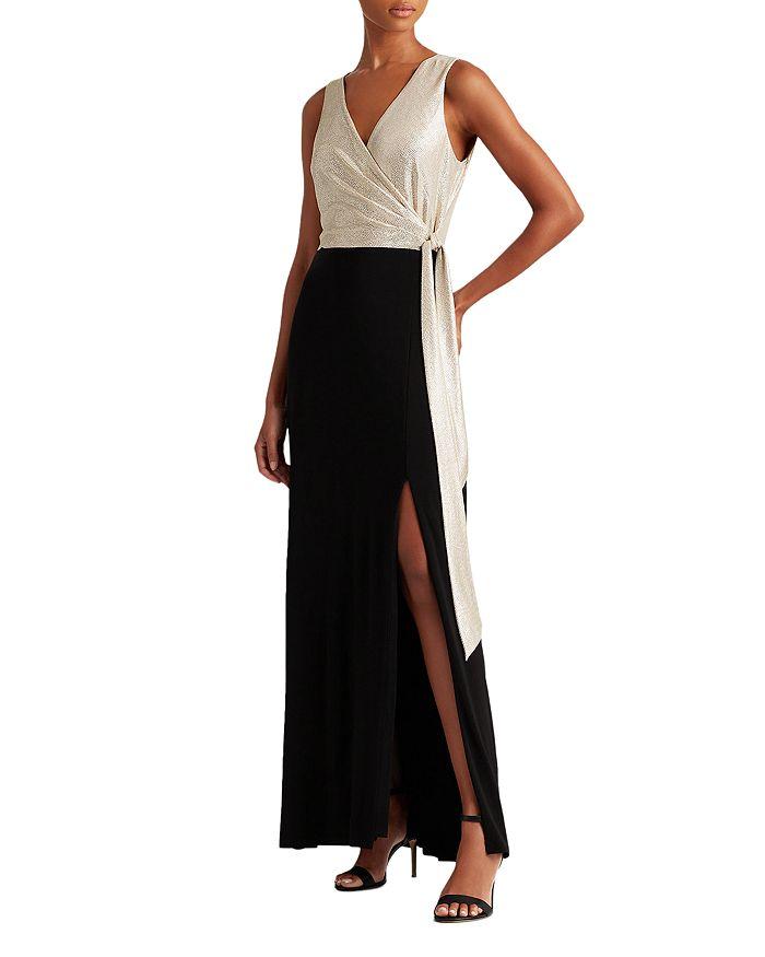 Ralph Lauren - Metallic Bodice Crossover Gown