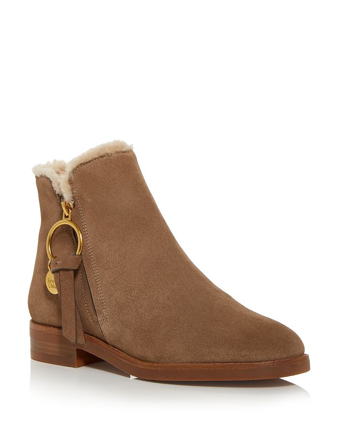 See by Chloé - Women's Louise Shearling Low Heel Booties