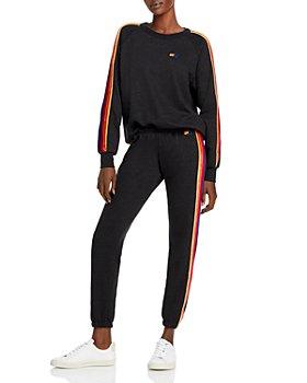 Aviator Nation - Velvet Striped Sweatshirt & Jogger Pants