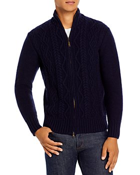 Inis Meain - Merino Wool Aran Cable Stitch Full Zip Mock Collar Cardigan