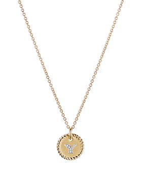 David Yurman - Y Initial Charm Necklace with Diamonds in 18K Gold, 16-18""