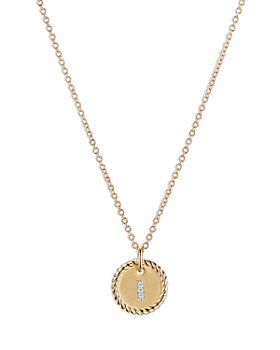 "David Yurman - I Initial Charm Necklace with Diamonds in 18K Gold, 16-18"""
