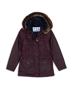 Barbour - Girls' Waxed Faux Fur Trim Hooded Coat - Big Kid
