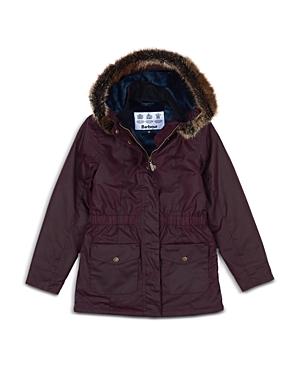 Barbour Girls\\\' Waxed Faux Fur Trim Hooded Coat - Big Kid