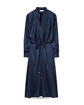 Tory Burch - Striped Satin Drawstring Dress