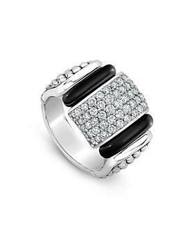 LAGOS - Sterling Silver Black Caviar Diamond & Ceramic Statement Ring